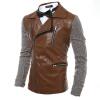 Зима Мужчины Multi-молния Поддельный пальто куртки новая мода мужские пальто куртки поддельный куртки