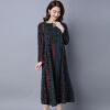 Плюс размер хлопок и белье женщин платье 2016 осень платье с длинным рукавом печати свободные платья Женский китайский стиль