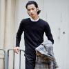 YOMS Мужские свитера Мужские корейские случайные свитера Мужские хлопок круглый шею воротник носить чистые цвета привески мужские наборы нижней рубашки 20564 черный XL180