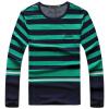 Mens Casual Shirt Fashion Winter Striped Long Shirt T-shirts Brand Cotton Clothes For Men