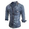Мужчины с длинными рукавами рубашки Star Печать Повседневный джинсовые рубашки