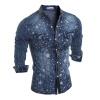 Мужчины с длинными рукавами рубашки Star Печать Повседневный джинсовые рубашки рубашки