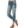Boyfriend джинсы для женщин 2015 Новая мода лето Стиль Женские джинсы Denim Сыпучие Holes шаровары рваные джинсы Женщины high low hem chunky sweater