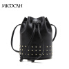 3 Colors Fashion Rivet Women Bag 2016 New Arrival Crossbody Bag PU Leather Bucket Bags Famous Brand Solid Color