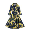 2 Colors S-4XL Women Vintage Dress 2016 Autumn New Fashion Print Sashes Bow Gown Dresses 2 colors s 4xl women vintage dress 2016 autumn new fashion print sashes bow gown dresses