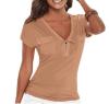 2016 Лето с коротким рукавом рубашки Top V шеи бинты Женщины Шнуровка тенниски Топы карманные дамы топы