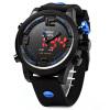 OHSEN AD 2820 мужчин Силиконовые спортивные кварцевые часы Большой набор Устойчивые мужчины двойное движение 5ATM Водные часы часы ohsen
