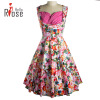 3 Colors Sleeveless Dress 2016 Summer Style Floral Print Club Dresses Vintage Polyester Elegant Cheap Women Cloth 3 colors sleeveless dress 2016 summer style floral print club dresses vintage polyester elegant cheap women cloth