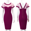 Fashion Backless Women Sexy Dress Hollow Out Short Sleeve Elegant Party Dresses Women Gift  Pencil Dresses