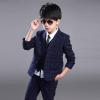 2016 осень новый стиль мальчиков плед костюм из трех частей костюм Одежда наборы Пант наборы