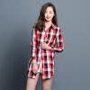 KuoyiHouse 7006 рубашка 2017 весна новый клетчатый рубашка женский длинный рукав свободный искусство длинный хлопок рубашка красный L