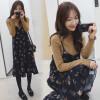Ах Sin Корейского свободного ремень цветочного шифона платье длинный участок был тонкие воланы сарафаны без рукавов zx17283 синего XXL