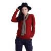 MAZOE простой многоцветный короткий параграф круглый шею воротник трикотажный нижний свитер M3028 ржавчина красный L