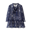 цена Cicie детская одежда для девочек дамы шифон с длинным рукавом темно-синий платье Sub 171 013 110 онлайн в 2017 году