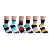 6 Pairs Mens Striped Multi Color Casual Fashion Crew Designed Style Casual Cotton Socks 550003