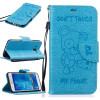 Светло-синий медведь Стиль Тиснение Классический откидная крышка с подставкой Функция и слот кредитной карты для SAMSUNG GALAXY J5
