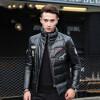мужчины кожаную куртку, длинные рукава одежды осенью witer подлинного овчины мотоцикл пальто настоящая кожа новый стиль с обивке