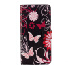 Black-pink Butterfly Design PU Leather Flip Cover Wallet Card Holder Case for Huawei mate 9