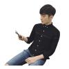 Zhuo Shishu с длинными рукавами рубашка молодежной моды мужской случайный с длинными рукавами рубашка дикая рубашка 2022-CS38 черный 4XL рубашка