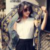 [Супермаркет] Jingdong один метр пряжи живописи (yimihuasha) Г-жа шарф весной и летом ВС шарф платок двойной шарф темно-синий сторона Caiyunzhinan