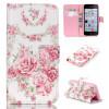 Розовые розы Дизайн Кожа PU откидная крышка бумажника карты держатель чехол для IPHONE 5C top lcd iphone 5c