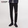 (Viishow) джинсы мужские дыни кошки, чтобы быть прямыми брюками Slim мыть джинсы брюки NCZ7963 черный 33
