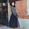 высокая талия плиссированные юбки эластичный пояс сплошной цвет кружева длинный отрезок Лонгвью женщин черных юбках LWQZ173104 Размер