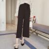 sustory весной 2017 года мода плиссированные высокой талии широкие брюки ноги женские женские свободные девять очков был тонкий прямые джинсы случайных брюки SU080 черный M