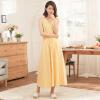 Йемен (INMAN) платье темперамент юбка платье лето Xiaoxing новый без рукавов без рукавов юбка лето пляжная юбка светло-желтый XL 8521030414
