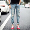 lucassa мужские джинсы талии колготки отверстие случайный светло-голубые джинсы мужские A089-302 28