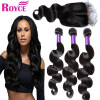 Adina Mink 7A Brazilian Body Wave 3Bundles With Closure Brazilian Virgin Hair With Closure Human Hair Body Wave Closure With Bundl virgo virgin hair 3 1 grace brazilian body wave with closure