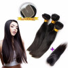 Natural Black Color 3 Weave Hair Bundles With Lace Closure Straight Peruvian Human Virgin Hair Full Weft Extensions 7a none full lace human hair wigs short straight glueless unprocessed virgin brazilian lace front wig black women