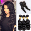 8A Unprocessed Virgin Hair Loose Wave Indian Weave Hair With Closure 3 шт. Лот Дешевый Loose Wave Human Hair Weave Closure дешевый