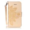 Золотой цветок дизайн искусственная кожа флип кошелек карты держатель чехол для IPHONE 5S чехол switcheasy melt для iphone 5 5s золотой