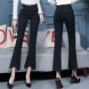KuoyiHouse 0039 17 новых черных джинсов женские эластичные брюки из микро-колокола женские брюки штаны раздельные сожжены Slim spring высокая талия большой черный XXL