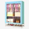 Красивый дом простой гардероб ткани шкаф многофункциональный гардероб стальной трубы с стойкой для обуви голубой женский гардероб