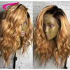 Malaysian Ombre Human Hair Lace Front Wigs 130 Density Blond Ombre Lace Wig 27# Ombre Swiss Lace Wigs With Dark Roots Blond Hai natural look short straight purple ombre wig dark roots cosplay wigs lace front wig exquisite synthetic hair for black woman