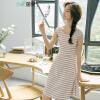 (INMAN) 2017 летние новые хлопчатобумажные полосы с короткими рукавами Тонкие платья женские белые полосы L 1872102173