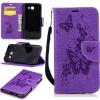 Фиолетовая бабочка с тиснением Классическая флип-обложка с функцией подставки и слотом для кредитных карт для Samsung GALAXY J3 2017