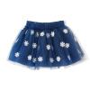 Fuluo чо Flordeer французского детская одежды для девочек снега печати Слоеной юбки F6005 темно-синие 110