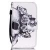 Череп Дизайн Кожа PU откидная крышка бумажника карты держатель чехол для IPhone 4S черный цветочный дизайн кожа pu откидная крышка бумажника карты держатель чехол для iphone 4s
