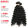 Allrun Peruvian Deep Wave 3 Bundles Peruvian Virgin Hair Weaving 100% Human Hair Weave Natural Black Double Weft peruvian deep wave virgin hair 3 bundles