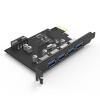 YottaMaster C4 USB3.0 4-портовая высокоскоростная плата расширения настольная компьютерная плата PCI-E интерфейс большой 4PIN интерфейс питания черный плата расширения soundcraft sio usb firewire