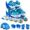 Дисней (Disney) полный костюм детей коньки роликовые ботинки для мужчин и женщин с полной флэш-регулируемые роликовые коньки роликовые коньки обувь 11006 Pink Princess (восемь полная вспышка / защитное снаряжение, включая шлем) XS код роликовые коньки tempish mondial