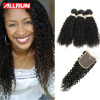 Brazilian Virgin Hair With Lace Closure 3 Bundle Deals Kinky Curly Virgin Hair With 4*4 Lace Closure Cheap Allrun Human Hair