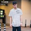 viishow мужская с коротким рукавом футболка в шотландках круглый воротник