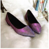 Jiabaisi Women Flats Pointed Toe nails patent Flats Slip On low heel shoes Large Size Wedding Party Casual Basic Shoes pu pointed toe covering heel flats