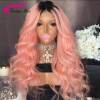 8A Grade Brazilian Virgin Hair Swiss Lace Wigs with Baby Hair Ombre Pink Hair Color Full Lace Human Hair Wigs Long Glueless Wigs 8a brazilian full lace human hair wigs
