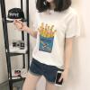 VIVAHEART Корейской случайная свободной хлопка футболка женского Картофель фри Картофель фри печатный рисунок белого с коротким рукавом белого VWTD174136 M