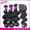 Brazilian virgin hair 3 Bundles with Closure Body Wave Brazilian Human Hair Weaving Bundles with 4*4 Lace Closure Bleached Knots 8a brazilian lace frontal closure body wave 13x4 with baby hair bleached knots free middle 3 parts frontals dreaming queen hair
